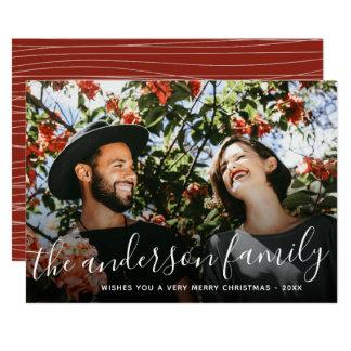 Cartão Foto branca do feriado do Natal do nome de família