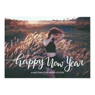 Cartão Foto branca ocasional do roteiro | do feliz ano