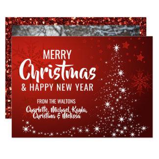 Cartão FOTO branca VERMELHA do ano novo | do Natal do