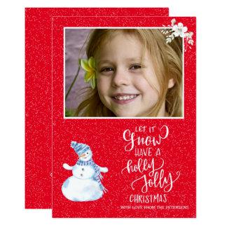 Cartão Foto branca vermelha do boneco de neve do quadro