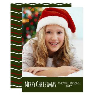 Cartão Foto branca vermelha verde de Chevron do Feliz