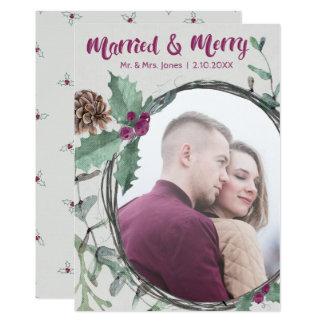 Cartão Foto casada & alegre rústica do feriado da