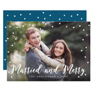 Cartão Foto casada e alegre da escova à moda do feriado
