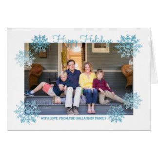Cartão Foto chique cintilante azul do feriado do floco de
