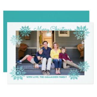 Cartão Foto chique cintilante do feriado do floco de neve