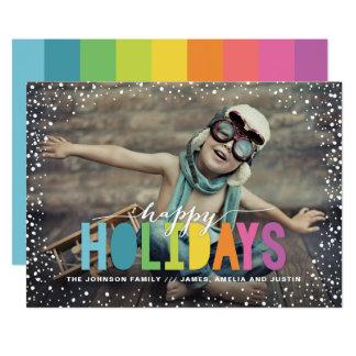 Cartão Foto colorida da queda de neve boas festas