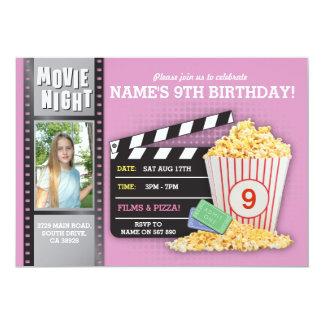 Cartão Foto cor-de-rosa da festa de aniversário do cinema