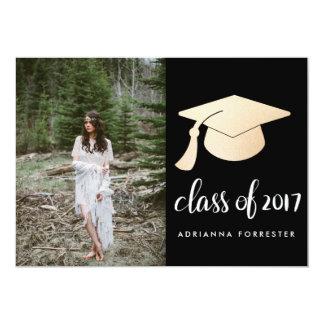 Cartão Foto cor-de-rosa do chapéu da graduação da folha