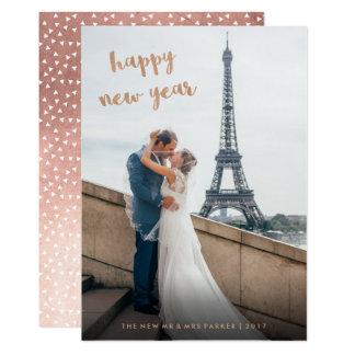 Cartão Foto cor-de-rosa do feliz ano novo do ouro do