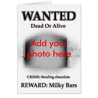 Cartão Foto criminosa querida do prisioneiro da prisão da
