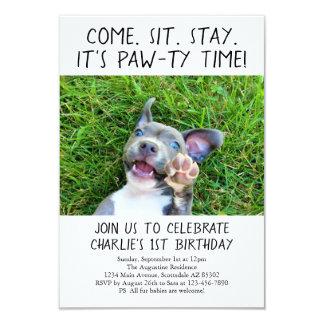 Cartão Foto da festa de aniversário do cão de filhote de
