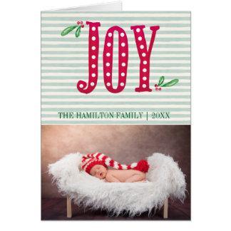 Cartão Foto da listra da hortelã da ALEGRIA do Natal