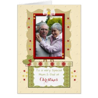 Cartão Foto da mamã e do pai do Natal