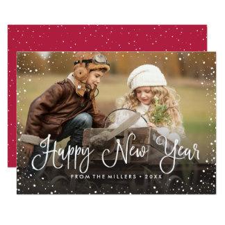 Cartão Foto da neve do feliz ano novo