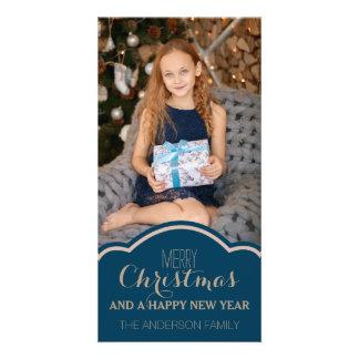 Cartão Foto de creme azul limpa simples do feriado do
