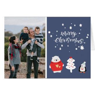 Cartão Foto de família azul do Natal