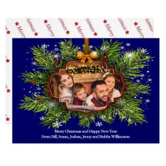 Cartão Foto de família espectacular da grinalda do Natal