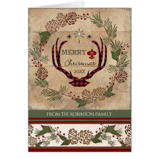 Cartão Foto de madeira da tipografia do Antler dos cervos