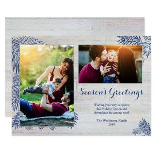 Cartão Foto de madeira do Natal dois das pranchas do