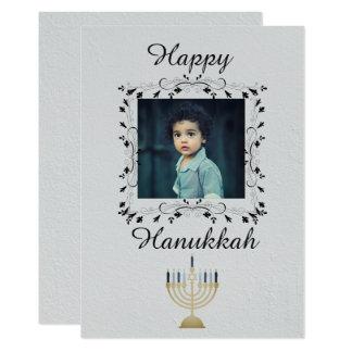 Cartão Foto de prata de Hanukkah