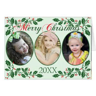 Cartão Foto do costume das bagas do azevinho do Natal
