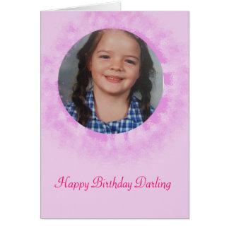 Cartão Foto do costume do rosa do feliz aniversario