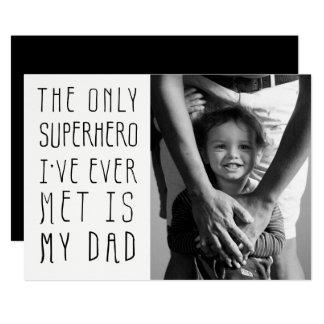 Cartão Foto do dia dos pais do pai do super-herói