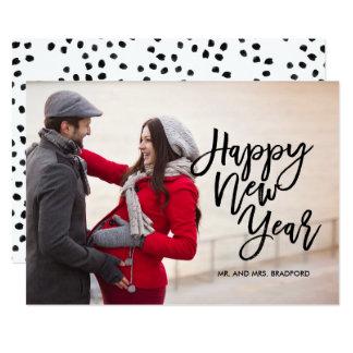Cartão Foto do feliz ano novo do roteiro da escova