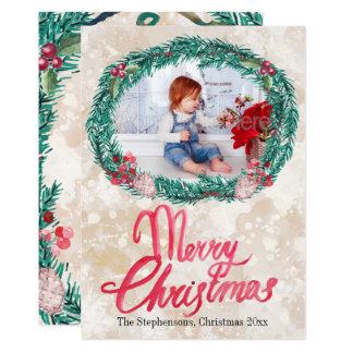 Cartão Foto do Feliz Natal da grinalda do pinho da