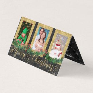 Cartão Foto do Feliz Natal do ouro