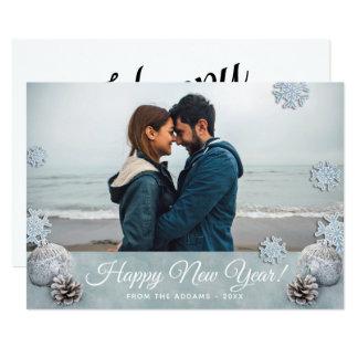 Cartão Foto do feriado do feliz ano novo