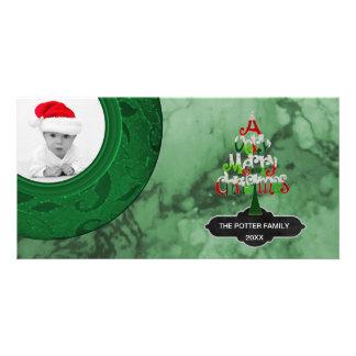 Cartão Foto do feriado do mármore   do verde da árvore do