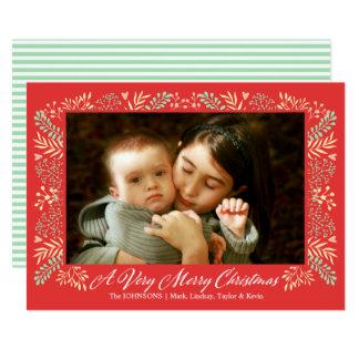 Cartão Foto do feriado do quadro da folha do Feliz Natal
