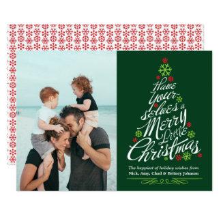 Cartão Foto do feriado do roteiro da caligrafia da árvore