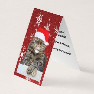 Cartão Foto do gato do Natal no floco de neve do chapéu