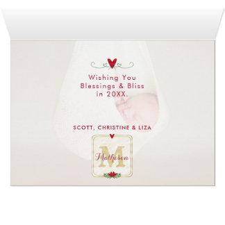 Cartão Foto do monograma   da aguarela da tipografia   da