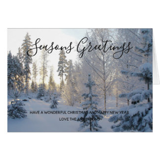 Cartão Foto do Natal da paisagem da neve do inverno