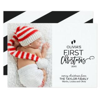 Cartão Foto do Natal do bebê da árvore de Natal primeira