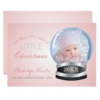 Cartão Foto do Natal do bebê da menina do rosa do globo