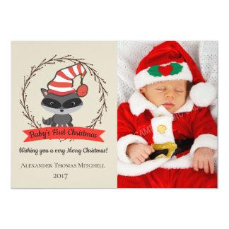 Cartão Foto do Natal do bebê do guaxinim da floresta