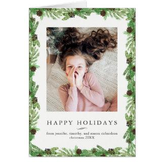 Cartão Foto do Natal do pinho | do feriado