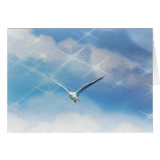 Cartão Foto do pássaro da gaivota em vôo