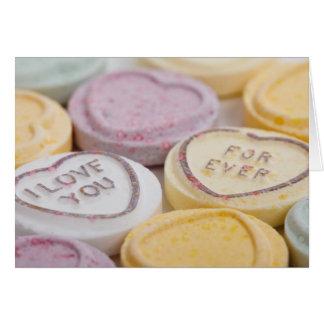 Cartão Foto dos doces dos corações da conversação eu te