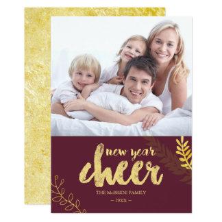 Cartão Foto dourada do elogio do ano novo da folha