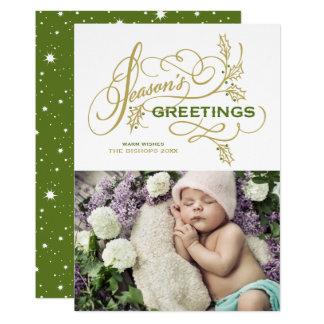 Cartão Foto elegante do feriado do Flourish dos
