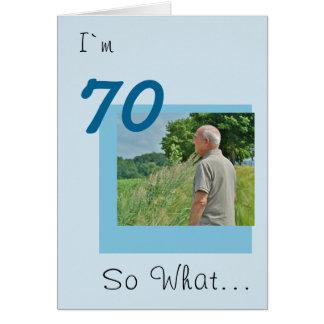 Cartão foto engraçada do aniversário do 70