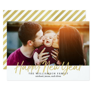 Cartão Foto escovada do feriado do ouro do falso do ano