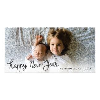 Cartão Foto escrita à mão do feriado do feliz ano novo