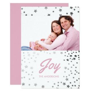 Cartão Foto estrelado do feriado do Natal da alegria
