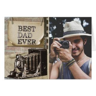 Cartão Foto feliz do dia dos pais do melhor vintage do